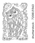 hand drawn owl. sketch for anti ... | Shutterstock .eps vector #720815563
