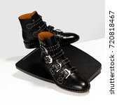 Luxury Leather Black Shoes Wit...