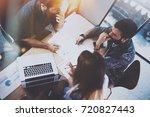 working process at office.group ... | Shutterstock . vector #720827443