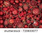 christmas decorative background ... | Shutterstock . vector #720833077