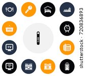 set of 13 editable plaza icons. ...