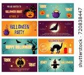 set of halloween banners with...   Shutterstock .eps vector #720838447