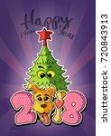 merry christmas card with... | Shutterstock . vector #720843913