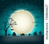 Halloween party background with moon ball in night sky and bats flying over cemetery graves flat vector illustration