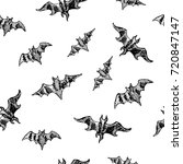 seamless bat pattern for... | Shutterstock .eps vector #720847147