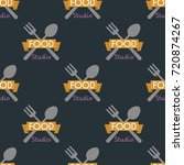 spoon fork seamless pattern... | Shutterstock .eps vector #720874267
