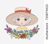cute girl with hat  flowers.... | Shutterstock .eps vector #720874423