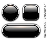 glossy black buttons with... | Shutterstock .eps vector #720903457