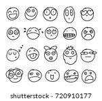 set of hand drawn smiles on... | Shutterstock .eps vector #720910177