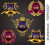 set of golden royal shields... | Shutterstock .eps vector #720913327