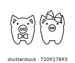 coloring pages cute pigs couple ... | Shutterstock .eps vector #720917893