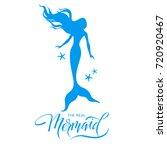 mermaid  silhouette  hand drawn ... | Shutterstock .eps vector #720920467
