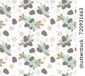 seamless pattern christmas tree ... | Shutterstock .eps vector #720931663