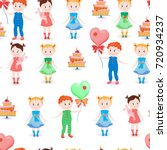 seamless pattern with balloons... | Shutterstock .eps vector #720934237
