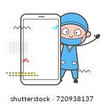 cartoon surgeon with smartphone ... | Shutterstock .eps vector #720938137