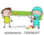 cartoon surgeon and patient... | Shutterstock .eps vector #720938197