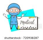 cartoon surgeon with blank... | Shutterstock .eps vector #720938287