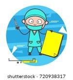 cartoon surgeon with blank... | Shutterstock .eps vector #720938317