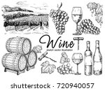 vector set of vine products.... | Shutterstock .eps vector #720940057