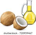 coconut fruit and coconut oil...   Shutterstock .eps vector #720959467