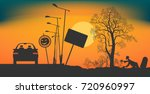 a car stopped on the road at... | Shutterstock .eps vector #720960997