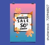 vector autumn sale poster... | Shutterstock .eps vector #720968827
