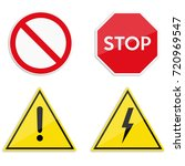 set of warning and prohibitory... | Shutterstock .eps vector #720969547