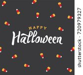 happy halloween text with candy ... | Shutterstock .eps vector #720979327