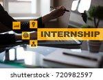 internship text on virtual... | Shutterstock . vector #720982597