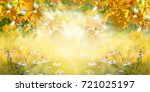 autumn background  yellow maple ... | Shutterstock . vector #721025197