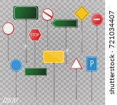 set of road signs isolated on... | Shutterstock .eps vector #721034407