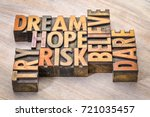Small photo of dream, hope, believe, dare, risk and try - inspirational word abstract in vintage letterpress wood type printing blocks