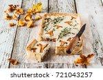 sliced rectangular chanterelle... | Shutterstock . vector #721043257