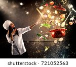 magic chef ready to cook a new... | Shutterstock . vector #721052563