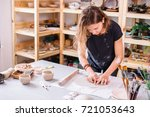 workshop of craftsman pottery ... | Shutterstock . vector #721053643