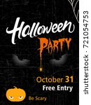 halloween party flyer with... | Shutterstock .eps vector #721054753
