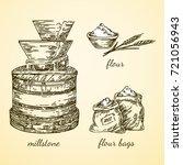 Vintage Set. Millstone  Flour...