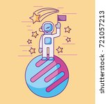 astronaut with flag on another... | Shutterstock .eps vector #721057213