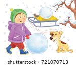 four seasons. a cute boy and... | Shutterstock . vector #721070713