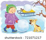 four seasons. a cute boy and... | Shutterstock . vector #721071217
