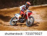 close up of mountain motocross... | Shutterstock . vector #721075027