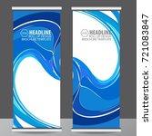 blue roll up business brochure...   Shutterstock .eps vector #721083847