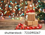 gift boxes with a large red bow ... | Shutterstock . vector #721090267