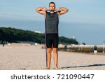 handsome young man training... | Shutterstock . vector #721090447