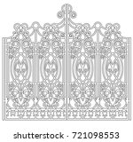 gate with forged ornaments on a ... | Shutterstock .eps vector #721098553