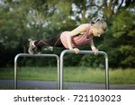 beautiful girl on park is ready ... | Shutterstock . vector #721103023