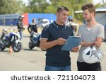 motorcycle driving instructor... | Shutterstock . vector #721104073