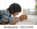 beautiful boy  hugging with... | Shutterstock . vector #721111993