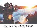 smiling happy girl wearing hat... | Shutterstock . vector #721123663