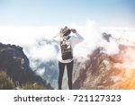 young traveler girl with...   Shutterstock . vector #721127323